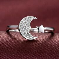 Moon And Stars Silver Plated For Women Creative Open Ring Ring Moon Star