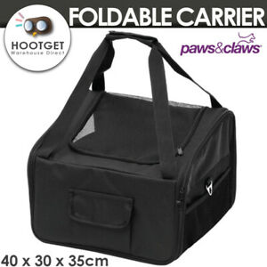 Foldable Pet Car Seat Carrier Dual Entry with Sherpa Mat Puppy Cat Dog Protector