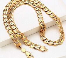 """Men,s 9ct 9K Yellow """"Gold Filled"""" Curb Ring 22"""" chain necklace W=10mm, """"Gift"""""""