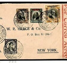 CHILE 10p HIGH VALUE Cover 1930 Foreign Air Mail Flight New York {samwells}Z163