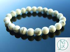 """Bianco Howlite Naturale Gemstone Braccialetto Con Perline 7-8"""" elasticizzati chakra guarigione"""