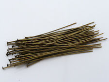 100 x Brass Headpins Antique Bronze 50mm Jewellery Making Findings Head Pins
