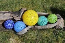 Set of 5 Multicolored Hand Blown Glass Floats Gazing Garden Balls