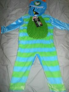 Baby Halloween All in One Blue Monster Costume Outfit with Hood Size3-6 Months