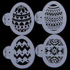 4pcs/set Easters Eggs Shape Cookie Stencils Cake Cupcake Decorate Plastic Moulds