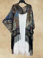 70 Retro Vintage Navy Fringe Kimono BOHO Paisley Cardigan Top S  M L 1X 2X 3X 4X