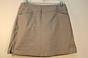 Lady Hagen Women's Golf Skort Elastic Waist Beige Gray Unique Color Pockets 10