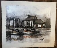 Midcentury Impressionist Oil On Canvas Painting By Listed Artist Pierre Godet
