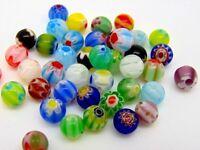 40 Pcs -  Assorted 6mm Round Millefiori Glass Beads Jewellery Beading C128
