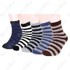 New 12 Pairs Mens Soft Cozy Fuzzy Winter Warm Striped Slipper Socks Size 9-13