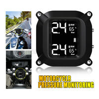 Wireless LCD Motorcycle TPMS Tire Pressure Monitor Systems 2 Sensors Waterproof