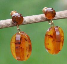 Vintage Bakelite 'Slices'Earrings Honey Drop Screw-Ins Costume Jewellery Jewelry