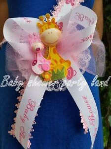 Baby Shower Mom To Be It's a Girl Giraffe Sash Pink Safari Ribbon Corsage Noah's