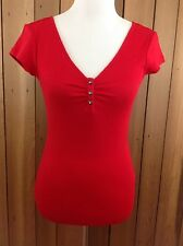 NWT! GUESS Short Sleeve Ribbed Ruched V Neck Henley  ~ Size Medium ~ $34 Red
