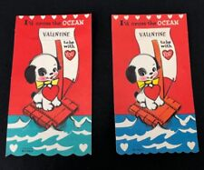 Lot x2 Vtg 40s 50s Valentines Card Cross Ocean Raft Puppy Dog Spot Greeting Cute