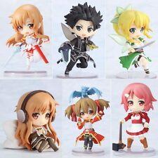 Sword Art Online SAO ALO Asuna Kirito Leafa Silica Figures Set of 6pcs Loose Toy