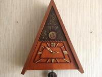 1979 Vintage USSR Mayak Wall Hanging Mechanical Wooden Cuckoo Clock Fight