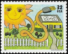 US 2952 Kids Care Earth Day Solar Energy 32c single MNH 1995