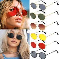 Women Men Vintage Small Oval Metal Frame Sunglasses Retro Shades Trendy Glasses
