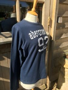 ABERCROMBIE AND FITCH BLUE T-SHIRT TOP, SIZE X LARGE, 100% COTTON, LONG SLEEVED