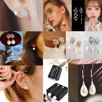 Fashion Women Girls Silver Plated Cute Charm Tassel Pearl Ear Stud Earrings Gift