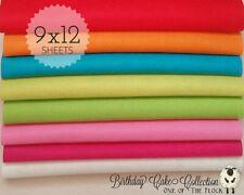 "Birthday Cake Felt Collection, Merino Wool Blend Felt, Eight 9"" X 12"" Sheets"
