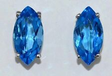 3 Ct Blue Topaz 10x5mm Marquise Stud Earrings White Gold Silver