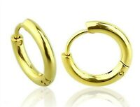 Yellow Gold PVD Huggie Hoop Earrings 1/2 inch Surgical Steel Hypoallergenic