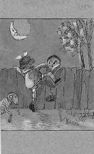 Fantasy Card Signed Drawing, Children, jumping over fence, moonlight, sheep
