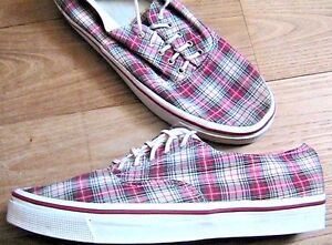 FRENCH 1980s MEN SKATEBOARD RETRO LACE-UP SNEAKERS~ TARTAN PLAID CANVAS ~NEW~ 9