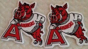 """(2) Arkansas Razorbacks Vintage Embroidered Iron On Patch (RARE)  3""""x 3"""" WOW!!"""