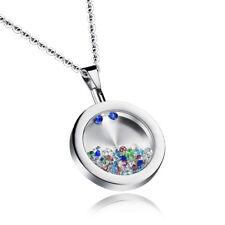 Edelstahl Anhänger BUNTE ZIRKONIA Halskette Damen Kette Silber necklace Zirkon
