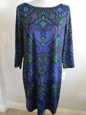 NWT JESSICA H SIZE 16 BLUE/GREEN GEOMETRIC PRINT LINED DRESS
