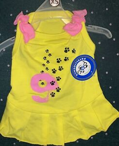 NWT PETELLIGENCE DOGIE PINK & YELLOW T-SHIRT / DRESS EXTRA SMALL LITTLE PAWS