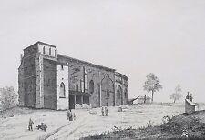Lithographie Originale XIXème - Église de Pujols - Libourne - Eugène Joubert