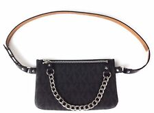 Michael kors Belt Bag Waist Wallet MK Logo Black With Chain Large NWT