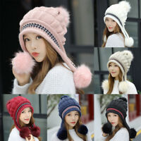 CO_ Winter Women Pompom Ear Flaps Fleece Lining Warm Beanie Cap Knitted Hat Rapt
