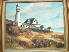 Signed Lighthouse Oil Painting Seascape 1974 Carole Lurner?