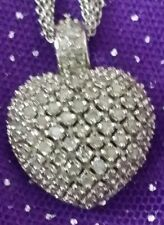 NEW MACY'S STERLING SILVER 1 CT DIAMOND HEART COCKTAIL CLUSTER PAVE NECKLACE SET