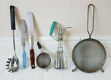 6 Vintage Kitchen Utensils Spatula Spaghetti Mesh Sieve Tea Strainer Whisk Egg