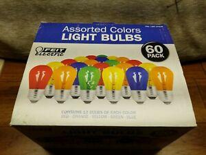 NIB feit electric 60 pk assorted colors light bulbs red green blue orange yellow