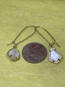 Kendra Scott MOP Diamond Cut Gold Tone Hook Earrings