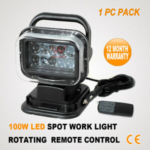 100W 10 LED ROTATING REMOTE CONTROL WORK LIGHT BAR SPOT SEARCH AUTO BOAT HUNTING