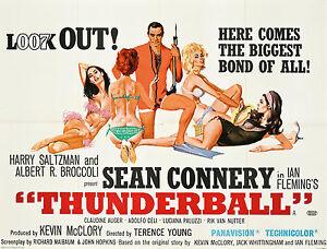 Home Wall Print - Vintage Movie Poster - JAMES BOND THUNDERBALL - A4,A3,A2,A1