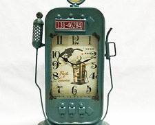 Vintage Looking Metal Blue Gas Pump Clock