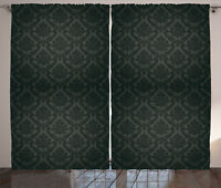 Dark Grey Curtains Ancient Damask Motifs Window Drapes 2 Panel Set 108x96 Inches
