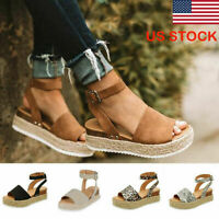 US STOC Women Ankle Strap Flatform Espadrilles Ladies Platform Wedges Shoes Size