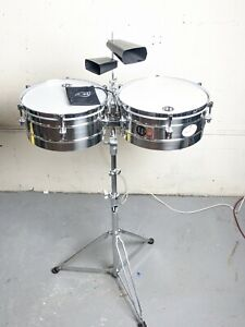 """LP Tito Puente 14"""" And 15"""" Timbales, Stainless Steel w/2Cowbells & Accessory bag"""