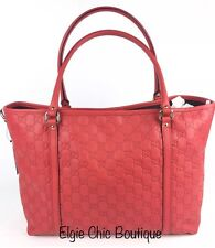 Authentic New Gucci ($1099) GG Guccissima Red Leather Tote #265695,NWT