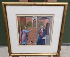 Framed Illuminated Style Print of The Annunciation, After Duccio
